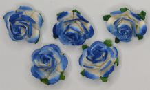 2.5cm ROYAL BLUE WHITE Mulberry Paper Roses (only flower head)